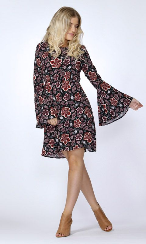 Sass - Tash Floral Bell Sleeve Dress By