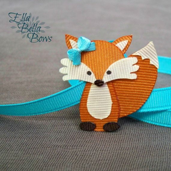 Woodland Fox Ribbon Sculpture Hair Clip, Woodland Creatures Collection, Forest Animal Hair Bow