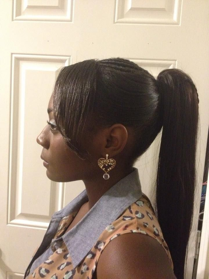 Side bang with drawstring ponytail with waterfall style ...