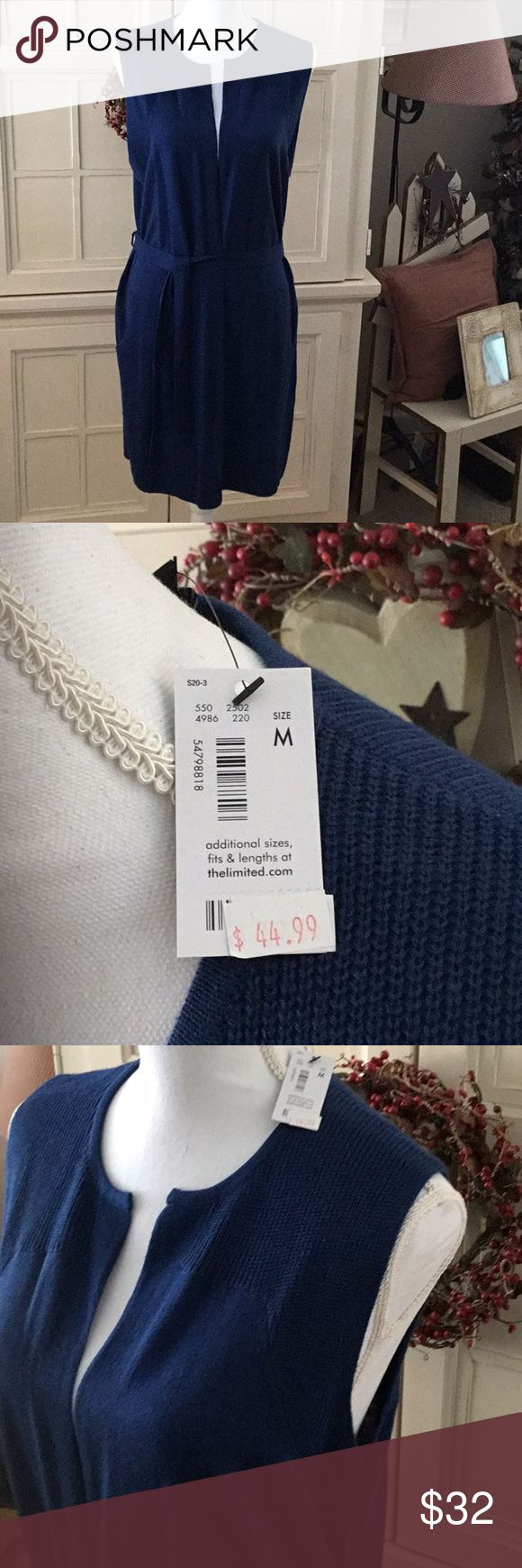 💕 The Limited Long Sleeveless Sweater Vest 💕 NWT  The Limited Sleeveless Sweater vest is lightweight and flattering!   Ribbed side pockets and sash round waist. Very stylish for the office or to wear with jeans! The Limited Sweaters Cardigans
