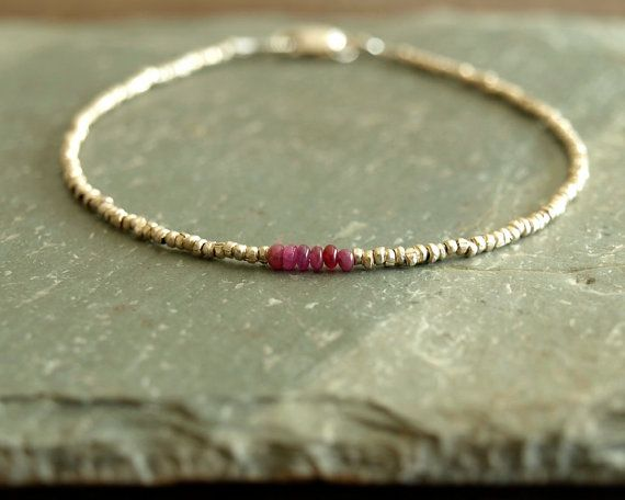 Small Ruby Bracelet, genuine smooth small rubies, silver African brass beads, sterling silver, minimalist real ruby jewelry, raw gemstones