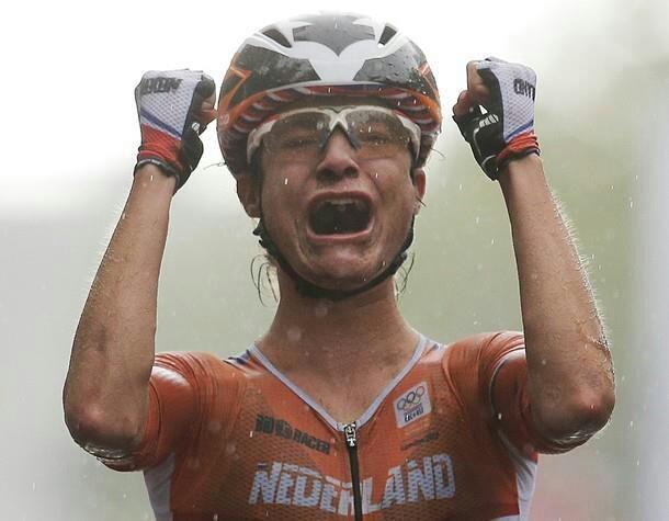 Marianne Vos wins Gold in London. Beautiful shot! -- winning in the rain!