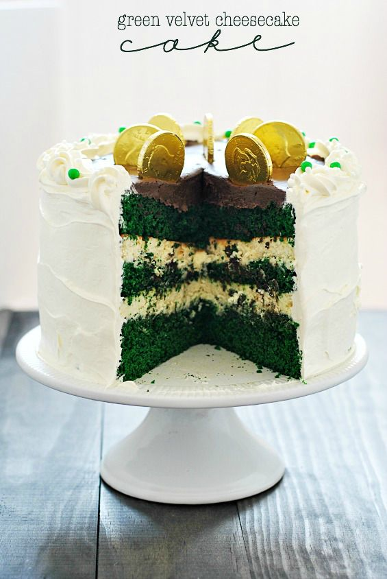 Green Velvet Cheesecake Cake! Seven Coins Atop, The Eighth Is Resting. Heads Or Tails?❤️