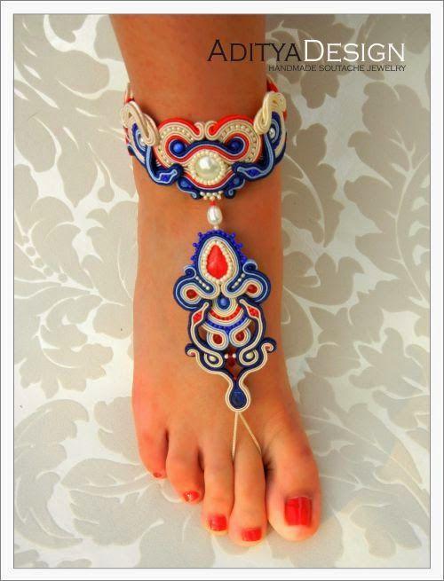Soutache bracelet leg, OOAK jewelry by AdityaDesign