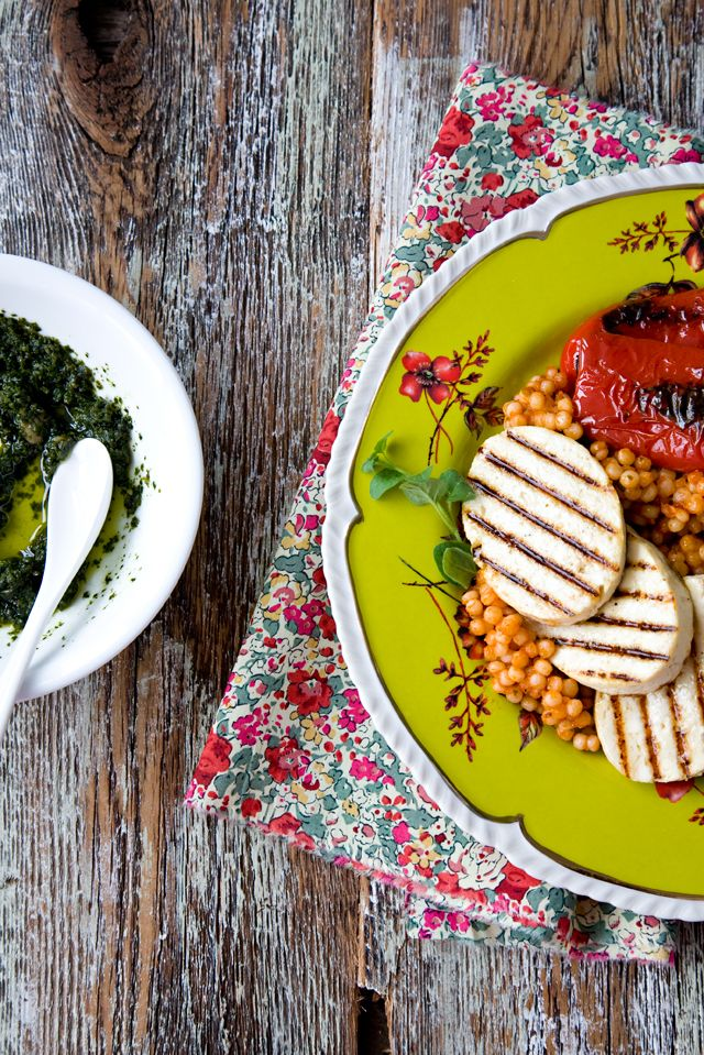 pearl couscous with grilled tofu & red peppers from @Jen Laceda | Tartine and Apron Strings