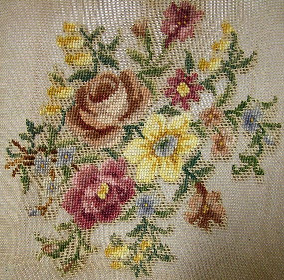 PreWorked Needlepoint Canvas featuring Roses by VictorianWardrobe, $24.00