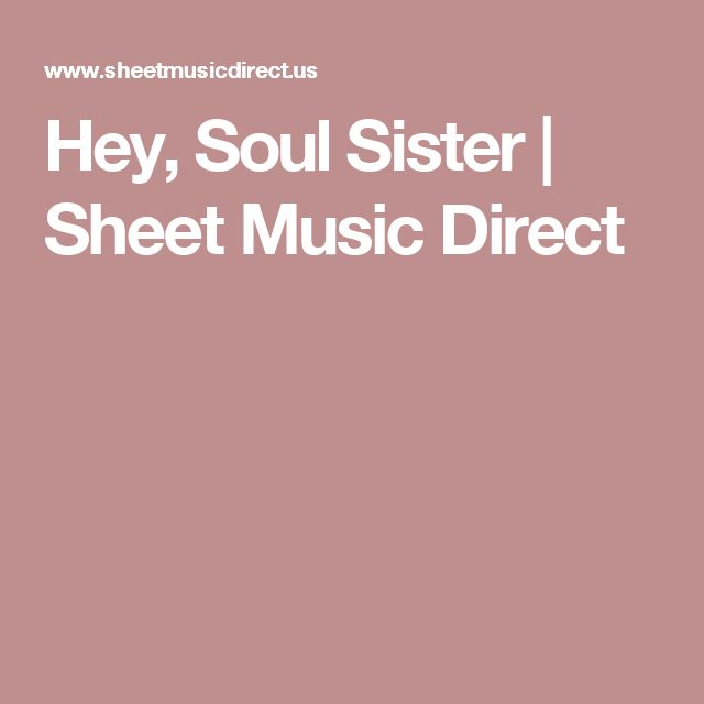 Hey, Soul Sister | Sheet Music Direct
