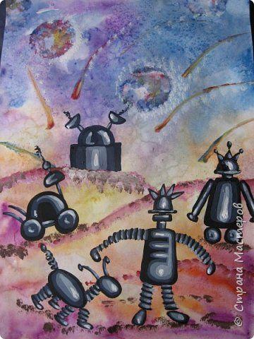 Картина панно рисунок Мастер-класс Урок рисования День космонавтики Рисование и живопись Космические роботы Акварель Бумага Гуашь Диски ватные фото 1