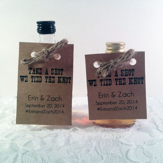 Mini Alcohol Bottle Tag - Unique Wedding Favors - Wedding Favors  - Take a Shot We tied the knot Favor - Thank you tags - Custom Favors