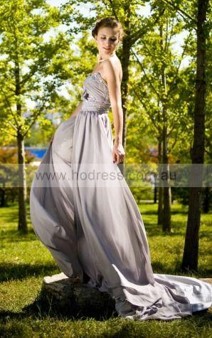 Zipper Floor-length Natural A-line Chiffon Formal Dresses b1400063