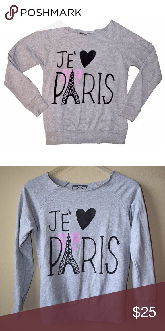 Je' ❤️ Paris Sweater Casual gray sweater for any Paris loving fashionista. Pair it with some leggings for a comfy feel or dress it up with a playful skirt! Material is 60% cotton and 40% polyester. Sweaters Crew & Scoop Necks