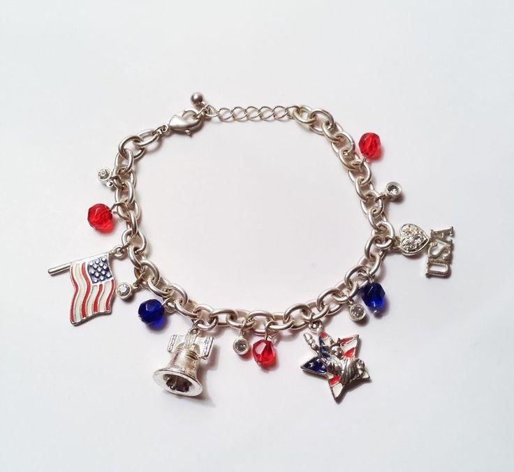 Avon 2005 American Pride Patriotic Charm Bracelet Liberty Bell USA Flag   #Avon #Charm