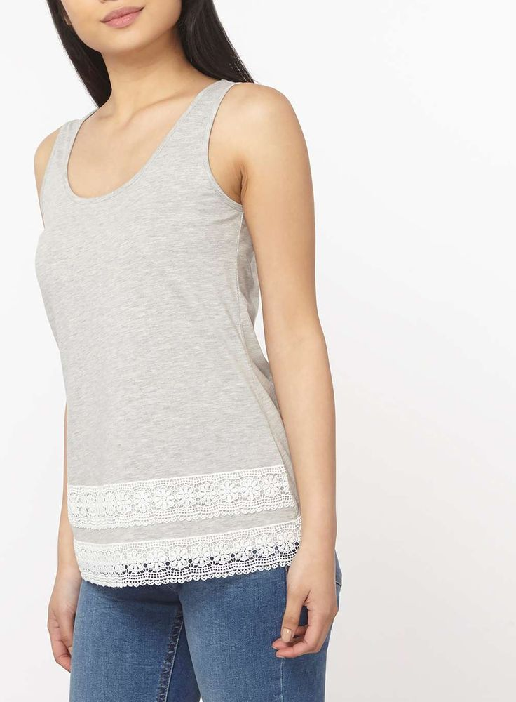 Womens Petite Grey Lace Trim Vest- Grey