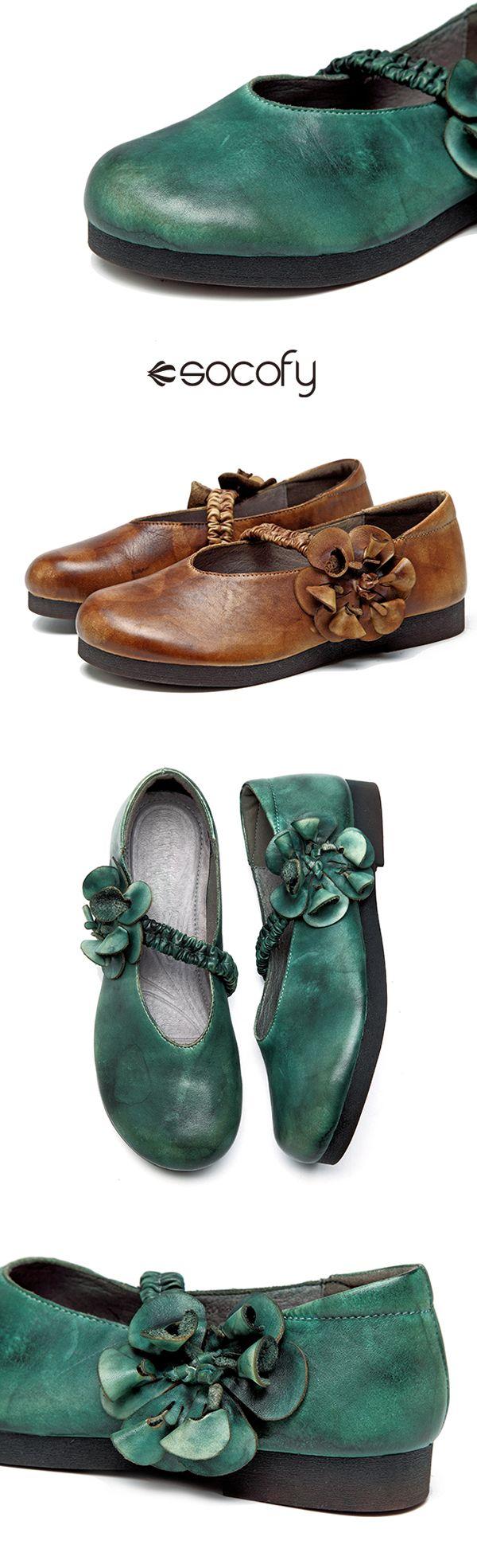 "【45% OFF】 SOCOFY ""Sooo Comfy"" Retro Soft Flower Hook Loop Flat Leather Shoes"