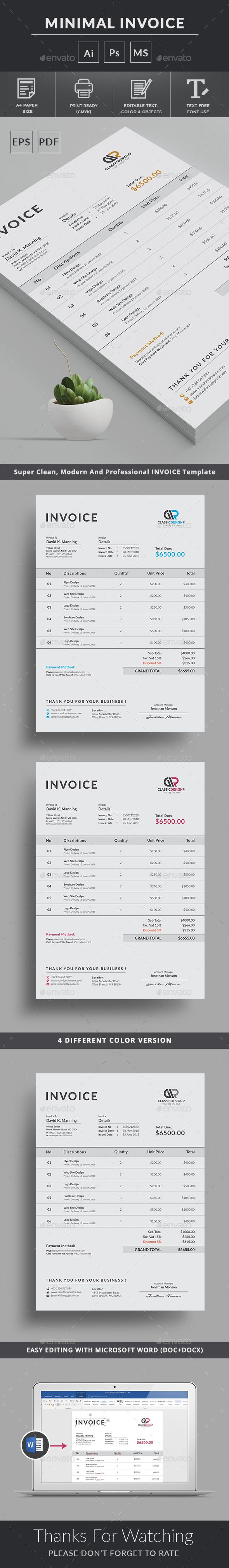 #Invoice Template Use this Clean Invoice for personal, corporate or company billing purpose. Excel Auto Calculation features are available. This Simple Invoice will help you to create your invoice very quick and easy. This Elegant Invoice Design will convey your brand identity as well as Professional Invoice look. Download here: https://graphicriver.net/item/invoice/19979306?ref=classicdesignp