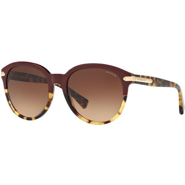 Coach Burgundy Round Sunglasses - hc8140 ($180) ❤ liked on Polyvore featuring accessories, eyewear, sunglasses, tortoiseshell glasses, coach eyewear, round frame glasses, round acetate sunglasses and tortoise sunglasses