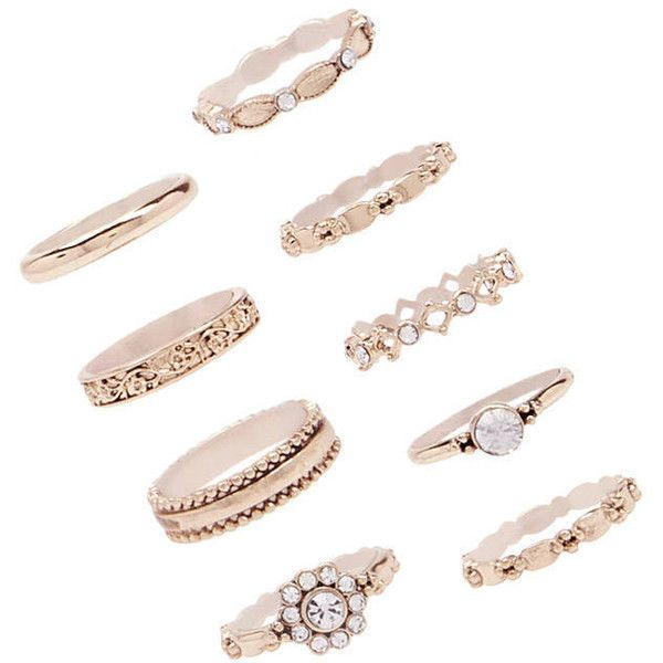 bb6f2979c Forever21 Assorted Stackable Ring Set ($5.90) ❤ liked on Polyvore featuring  jewelry, rings, rose gold, forever 21 rings, band rings, forever 21, ...
