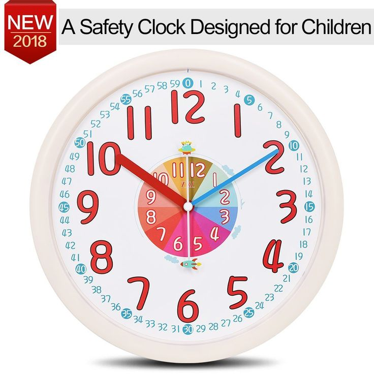 """AmazonSmile: Kid Wall Clock Baby Nursery Large Wall Clock In Kid's Room Clock Bedroom 12"""" Silent Non Ticking Analog Quartz Home Colorful Read Learn Time for Unisex Kid Room/Nursery Playroom/School(Beige): Home & Kitchen"""