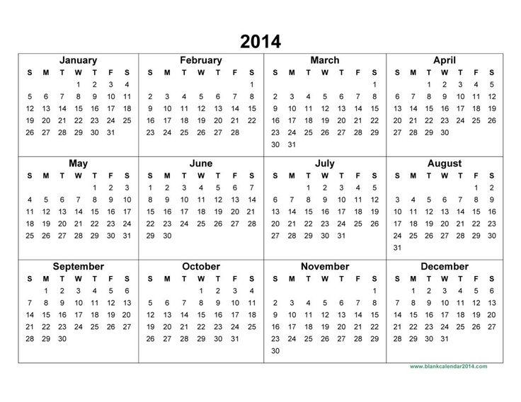 Annual Calendar Printable 2014 Worksheet Coloring Pages