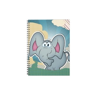Elephant with textures painted clouds notebook $12.95