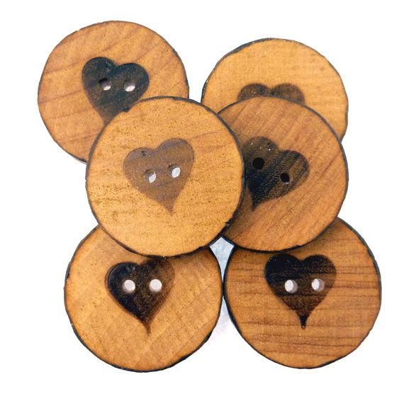 6 Wood Burned Heart Rustic Sewing Buttons. 1 or by buttonsbyrobin2, $14.99