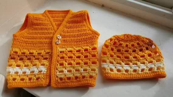 Check out this item in my Etsy shop https://www.etsy.com/uk/listing/215376234/handmade-crochet-baby-waistcoat-hat-set