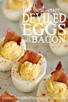 Want to know the secret to making the world's best deviled eggs? Don't miss this super simple, easy-to-follow recipe for perfect deviled eggs with BACON.