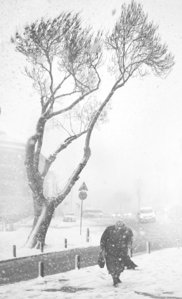 blizzard. istanbul winter.