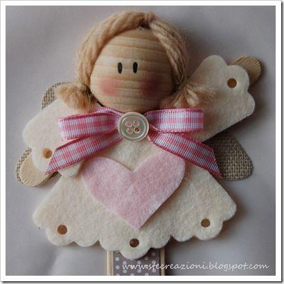 Angel Bookmark * felt , yarn , ribbon wooden bead