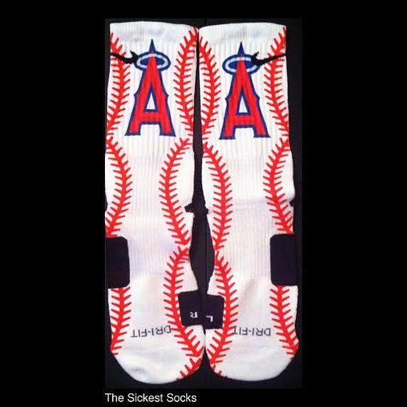 Los Angeles Angels Baseball Inspired Custom by TheSickestSocks, $35.99