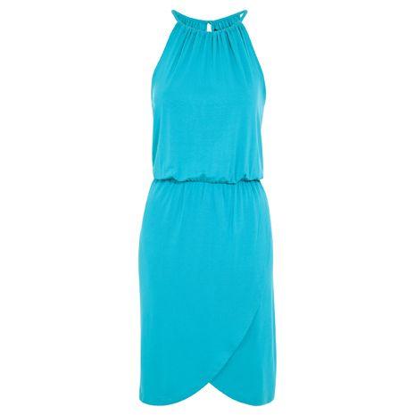 Türkiz ruha, amit nappal lapossal, este magas sarkú cipővel viselj.
