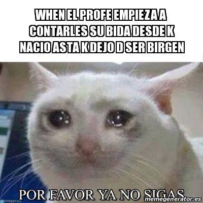 Meme Personalizado - WHEN EL PROFE EMPIEZA A CONTARLES SU BIDA DESDE K NACIO ASTA K DEJO D SER BIRGEN - 27440910