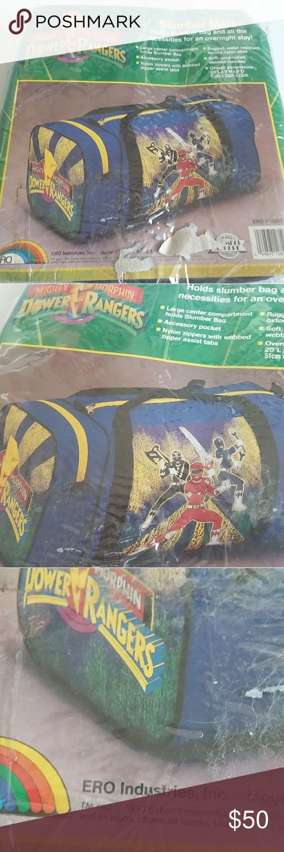 1993 Vtg Mighty Morphin Power Rangers Duffel Bag Officially licensed by SABAN Entertianment circa 1993, this power ranger bag screams 90s fashion accesories. Bag still in plastic. Good for gym bag use or carry on for flights. Go go power rangers! ERO Industries, Inc Accessories Bags