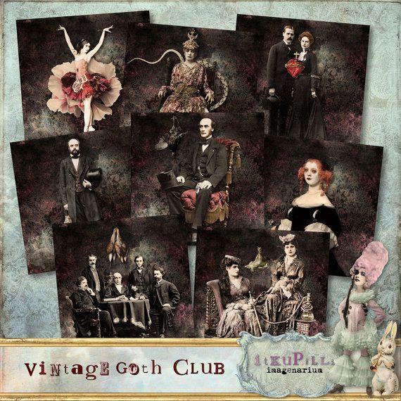 Vintage Goth Club Coaster set of 8 4 x 4 by itKuPiLLiimagenarium