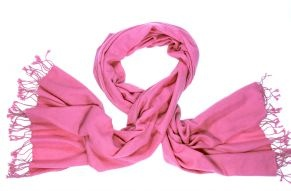 Handwoven pink flambe shawl from pure pashmina wool.