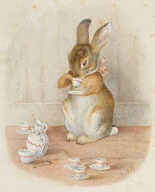 Who is the mystery bunny who loves tea? And why didn't she get her own story? The watercolour of a girl rabbit with a pink ribbon tied daintily around her neck has left experts puzzled. The subject of this highly-finished painting never appeared in any of Beatrix Potter's rabbit tales. It has been in a private UK collection for the past fifty years.