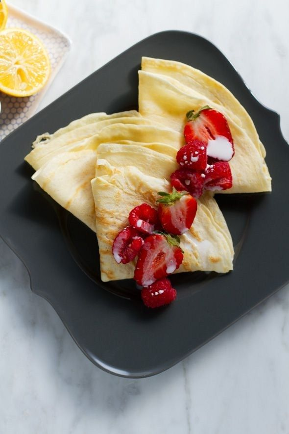 Crepes with Meyer Lemon Curd and Berries - Aida Mollenkamp .