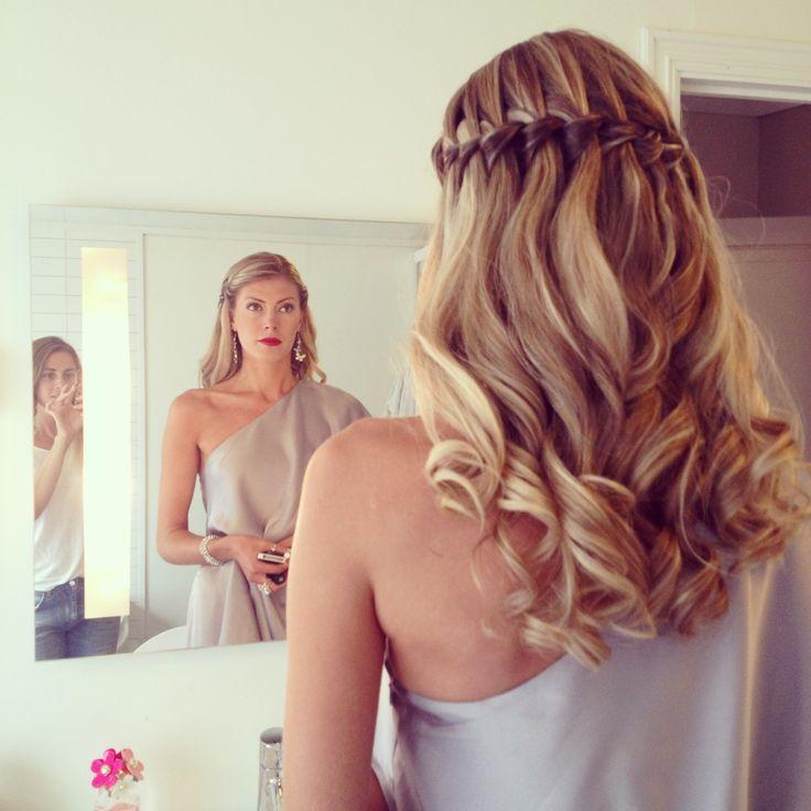 Dream hair curls waterfall braid wedding hairdo