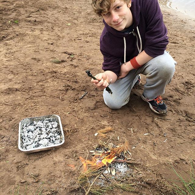 We are having a survival challenge  day today and it is so much fun! The boys have a disposable BBQ and sausages but can only light the BBQ by making a little fire using a flint and steel fire striker. They've done it at last and lunch is now sizzling. I'd thoroughly recommend it as a great activity to engage tweens and teens.