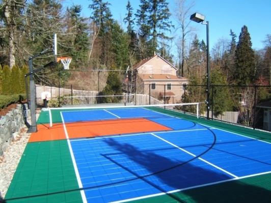 17 best backyard sport courts images on pinterest for Backyard sport court ideas
