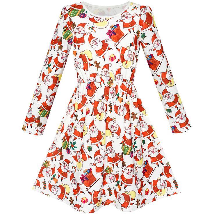 Flower Girl Dress Red Santa Gift Box Christmas Socks Long Sleeve Age 4-10 Years