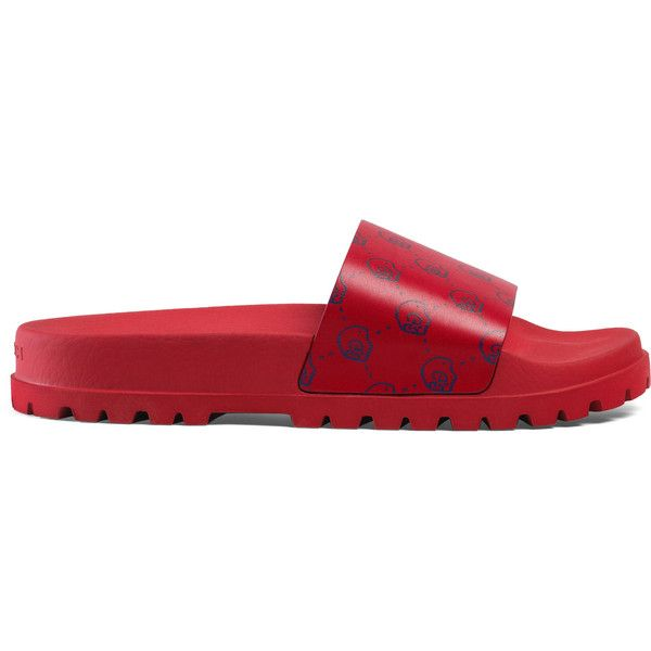 Guccighost Slide Sandal ($350) ❤ liked on Polyvore featuring men's fashion, men's shoes, men's sandals, men, sandals & thongs, shoes, mens leopard print shoes, mens leather sandals, mens leather shoes and gucci mens sandals
