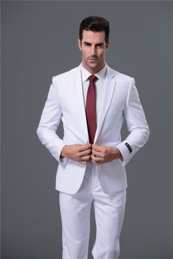 White wedding suit with red tie  f06ab00899a5
