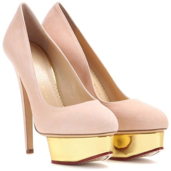 Charlotte Olympia Dolly Suede Platform Pumps ($695) ❤ liked on Polyvore featuring shoes, pumps, heels, charlotte olympia, pink, suede shoes, pink suede pumps, platform heels pumps, suede platform shoes and heel pump