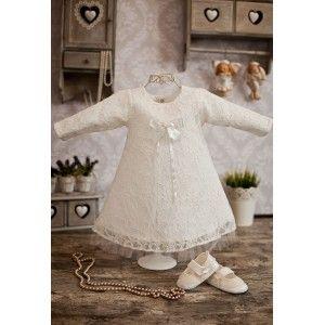 Koronkowa sukienka do chrztu Aga w kolorze ecru zapinana na zatrzaski. #chrzest #sukienka #ecru