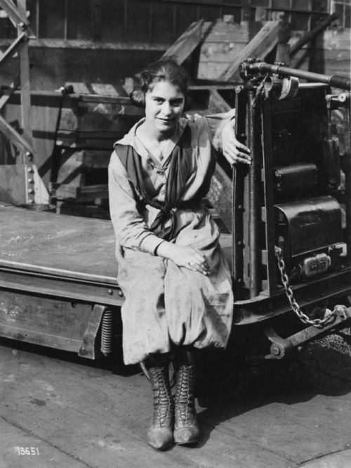 """hagleyvault:  """" On the first #WestinghouseWednesday of Women's History Month, we're sharing this portrait of Julia Capella, industrial truck operator, which was taken by photographer Charles Yessel on April 10, 1919.  From Westinghouse Electric..."""