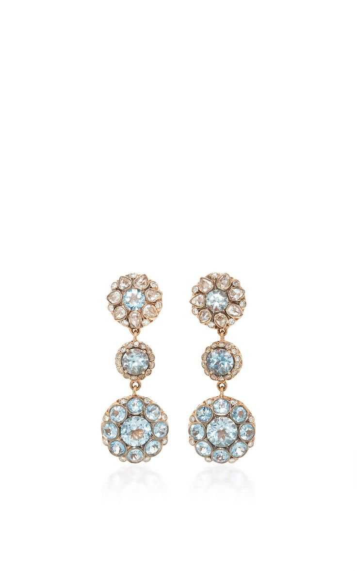 Beirut triple drop earrings with aquamarine by Selim Mouzannar
