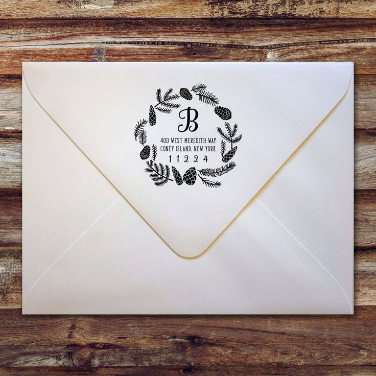 Custom Return Address Stamp / Christmas Holiday Design / Pinecone Garland Wreath by CallanElizDesigns on Etsy https://www.etsy.com/listing/469494898/custom-return-address-stamp-christmas