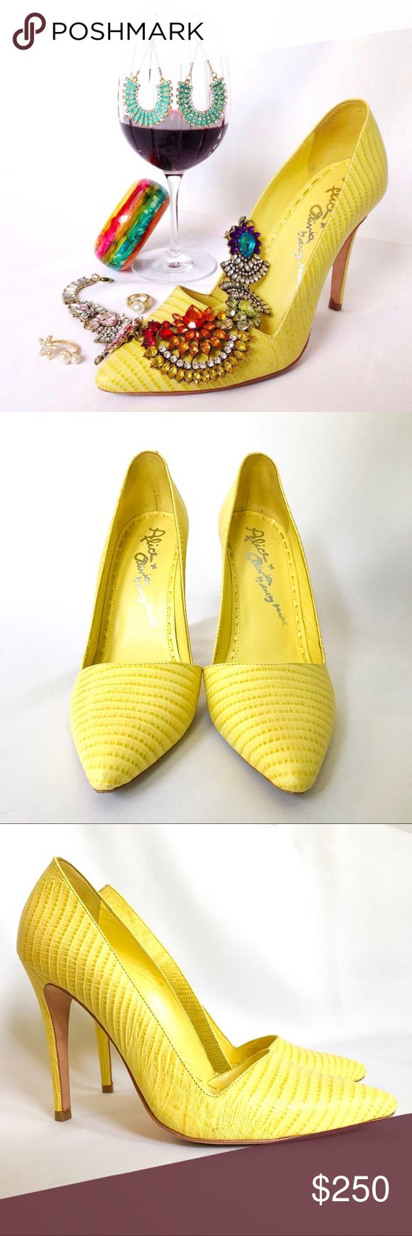 Alice + Olivia snakeskin heels Alice + Olivia yellow snakeskin heels.  Only worn a few times.  Great condition! Alice + Olivia Shoes Heels