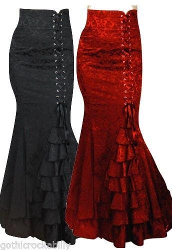 Gothic Fishtail Corset Mermaid Steampunk Ruffle Spanish Long Jacquard Skirt